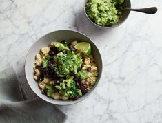 This quick and easy dish is a perfect dinner after a long day. The kale guacamole makes a great snack with raw veggies.