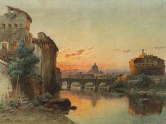 Carl Wuttke (1849-1927), Engelsburg in Rom, Öl, um 1875