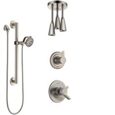 Delta Compel Dual Control Handle Stainless Steel Finish Shower System, Diverter, Ceiling Mount Showerhead, and Hand Shower with Grab Bar SS1761SS6