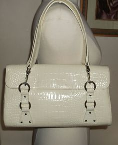 http://stores.ebay.com/The-House-Of-Two-Karat   LAUREN by Ralph Lauren Croc Embossed Off White/Ivory Satchel Handbag #RalphLauren #Satchel