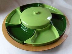 Mid Century Pottery Snack Set Chip Dip Vegetable Lazy Susan