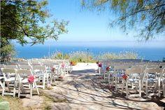 ocean view wedding ceremony at Rancho Del Cielo, Malibu