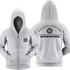 Plus size Supernatural zip up hoody for men fleece