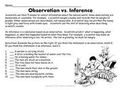 Printables Observation And Inference Worksheet scientific method inference and worksheets on pinterest observations vs inferences students look at a picture decide if the given statement is an or observation this worksheet pa