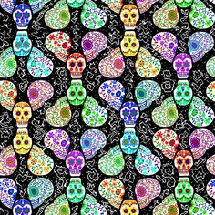 Sugar Skulls on Black fabric by eclectic_house on Spoonflower - custom fabric