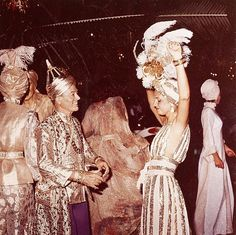 Oliver Messel and Carolina Herrera Mustique 1976 by Patrick Litchfield at a Glenconner carnival ball