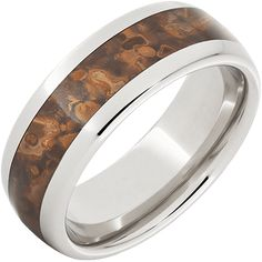 Serinium® Domed Band with Copper Inlay and Helix Laser Engraving — Jewelry Innovations Wedding Bands For Him, Wedding Rings, Alternative Metal, Mossy Oak, Laser Engraving, Rings For Men, Copper, Engagement Rings, Jewelry