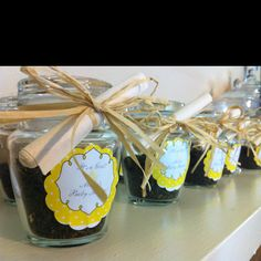 Made these baby shower favors- loose green tea in a jar with rolled up bags and label. Great alternative to candy favor fillings.