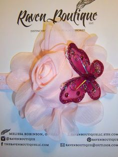 Soft Pink Large Flower with Bright Pink Glitter Buttefly Headband on Etsy, $10.95