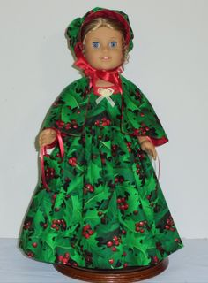 Colonial Christmas dress Created for American Girl doll  Felicity or Elizabeth 4 piece outfit No. 689 by MargaretteDesigns4AG on Etsy