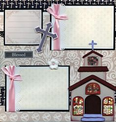 2 12x12 premade scrapbook pages. - BAPTISM BABY GIRL -. Adorable 3D art has been printed, hand cut, and made 3d with foam squares. Acid Free Papers! | eBay!