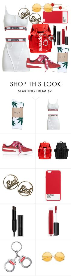 """""""Slippery - Migos"""" by annabidel ❤ liked on Polyvore featuring HUF, Moschino, Puma, Louis Vuitton, Joyrich, Case Scenario, Givenchy, MAC Cosmetics and Simone I. Smith"""