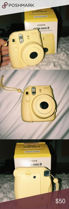 "Yellow Polaroid / ""Fujifilm Instax Mini 8"" 💛 Yellow camera with attached adjustable wrist carrier. Film not included 💛 *Discontinued by manufacturer Fujifilm Other"