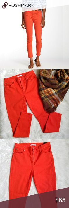 """7FAMK High Rise Ankle Skinny Jean 7 For All Mankind. Size 29.  Very stretchy. Color- Califpoppy - Red Orange  92% cotton, 6% polyester, 2% spandex Zip fly / button closure 5 pocket construction High rise waist. Skinny leg. Slim Illusion construction for stretch, retention and shape. Waist- 14.5"""" Rise- 10"""" Inseam- 27.5"""" Great condition. Tiny lightly faded spot on the back pocket and seat seam. Hardly noticeable.  Perfect for fall! 7 For All Mankind Jeans Ankle & Cropped"""