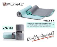 Black-Gray 2pc MICROFIBER TOWELS Super Absorbent /& Quick Drying Runetz