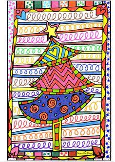 Ein Weihnachtsbaum in dekorativen Grafiken und Farben für Sie wollen ein . Christmas 2015, Christmas Crafts For Kids, Merry Christmas, Christmas Tree Coloring Page, Diy Crafts To Do, Christmas Drawing, Theme Noel, Winter Art, Outdoor Christmas Decorations