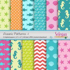 "ocean print "" Oceanic Pattern -1"" nautical sea life beach aqua seamless pattern starfish seahorse seashell waves background digital paper by Selegan on Etsy"