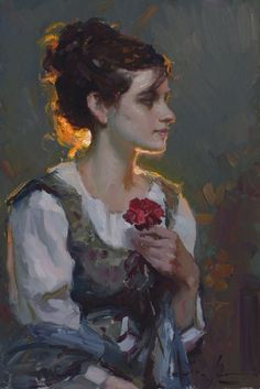 Michael Malm, Carnation , oil on board Available at Trailside Galleries Painting Inspiration, Art Inspo, Renaissance Kunst, Impressionist Art, Classical Art, Art And Illustration, Pretty Art, Portrait Art, Painting Portraits