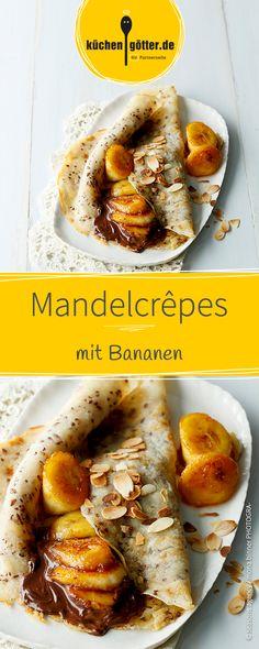 Wir sind verliebt in dieses Rezept für dünne Crepes, wie aus Frankreich, verfeinert mit Mandeln. Dazu gibt es Schokoladensoße und Bananen.