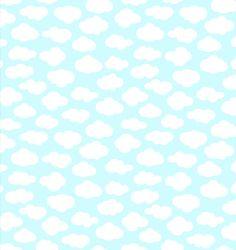 Tela de patchwork de algodón amerciano de color azul cielo con preciosas nubes blancas