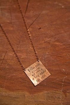 Hand stamped personalized simple square hammered copper necklace