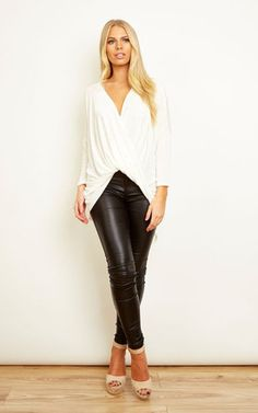 Ivory Slinky Wrap Top - SilkFred