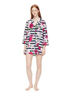 natty stripes? demure florals? this comfortably tailored sleep shirt ticks both boxes.