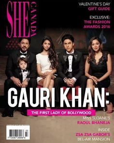 The first family of Bollywood on the cover of #SHECanada magazine. Shah Rukh Khan Gauri Khan Aryan Khan Suhana Khan & AbRam Khan. @filmywave  #ShahRukhKhan #SRK #GauriKhan #AryanKhan #SuhanaKhan #AbRam #AbRamKhan #SheCanadaMagazine #magazinecover #bollywoodmagazines #celebritymagazine #magazine #magazineshoot #covershoot #photooftheday #celebrity #photoshoot #bollywood #bollywoodactor #coverboy #filmywave