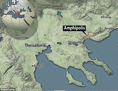 Experts believe the ancient mound, situated around 65 miles (100km) from Thessaloniki (shown on the map) was built for a prominent Macedonian in around 300 to 325 BCE