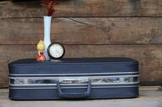 Vintage Suitcase Luggage Navy Blue Square by PageScrappers on Etsy, $38.00