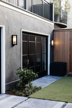 Black French Doors and lights. The Urban Electric Co.