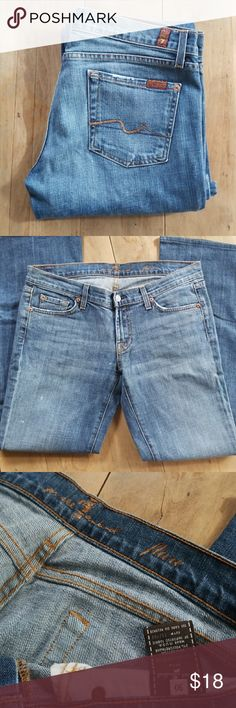 7 for all mankind Flare 30/30 Good condition flare 7 for all Mankind.   Small white spots on right thigh.   30/30 7 For All Mankind Jeans Flare & Wide Leg
