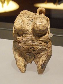 The Venus of Hohle Fels, an Upper Paleolithicfigurine hewn from ivory of a mammoth tusk found in 2008 near Schelklingen, Germany. dated to between 35,000 and 40,000 years ago, belonging to the early Aurignacian, at the very beginning of the Upper Paleolithic, which is associated with the assumed earliest presence of Homo sapiens in Europe (Cro-Magnon). It is the oldest undisputed example of Upper Paleolithic art and figurative prehistoric art