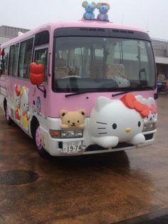 Omg hello kitty bus