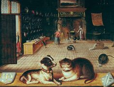 a friend asked me if I could tell her anything about this wonderful painting of a domestic interior with cat dog (and mouse, if you look closely!) in the foreground. The note that came with the picture said merely 'Flemish proverb' -- but because the photo was this good [try it it will blow up wonderfully] I was able to read the writing 'pinned' to the wall' -- SEE PREVIOUS [painting is in Bourges Museum]