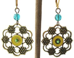 Womens Flower Earrings with Aqua Yellow & by GoddessGemsDesigns, $18.00