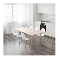 IKEA YPPERLIG table Solid wood, veneer and steel are durable materials that are easy to keep clean.