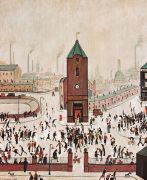 Town Centre by L S Lowry. Massive range of art prints, posters & canvases. Quality UK framing & Money Back Guarantee! Salford, Artist Bio, Spencer, Middlesbrough, English Artists, David, Naive Art, Urban Landscape, Pebble Art