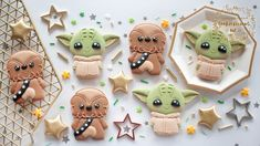 Hey Sweeties, so because May is coming reallyyyyy soon and its a special day for those of you who didn't know it.it has been known as Star Wars Day, wh. Hubby Birthday, Star Wars Birthday, Boy First Birthday, Star Wars Cookies, Halloween Cookies, Cute Halloween, Yoda Cake, First Birthday Cookies, Baby Shower Cookies
