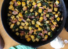 Rutabagas, collard, and bacon skillet.