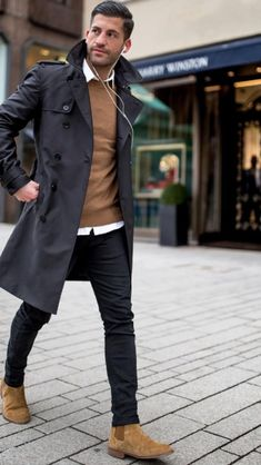 Comfy winter fashion outfits for men in 2019 71 Casual Chic, Casual Wear, Men Casual, Men Shoes Casual, Shoes Men, Winter Fashion Outfits, Autumn Fashion, Mode Mantel, Herren Style