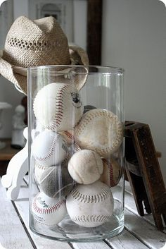 jar of baseballs... like this idea for my 90 year old father in law who used to play in the minor leagues. I have a basket of vintage baseballs in our bedroom! I love it!