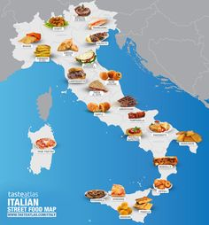 The Ultimate Map of Italian Food What's the best Italian food and where to eat in Italy? These are 835 most popular national and local traditional dishes, and 1107 best Italian authentic restaurants. Discover Italian cousine and gastronomy Italy Map, Italy Travel, Pizza Italia, Food Map, Food Food, Italian Street Food, Street Food Market, St Patricks Day Food, Italy Food