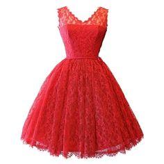Sheer Stunning V Neck Skater-dress ($23) via Polyvore featuring dresses, red skater dress, red v neck dress, v-neck dresses, see through dress and skater dress