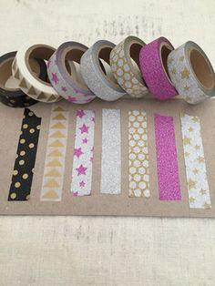 Washi Craft Tape Pink Stars, Gold Stars, Gold Dots, Paper Tape, Tape Crafts, Silver Glitter, Washi, Triangle, Gifts