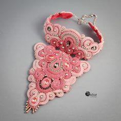 Soutache necklace for a bride. #soutache #soutachejewelry