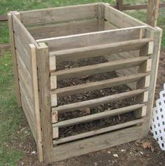 The compost plans have been found. I saved it in a pdf file. I finished everything except the lid today. This should be a lot less of an eyesore in the back yard versus keeping compost in tomato ca…