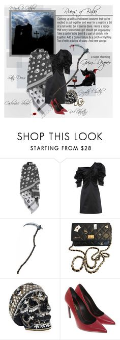 """""""Mon Style № 136 - October 3, 2017"""" by mon-style-diary ❤ liked on Polyvore featuring Alexander McQueen, Isa Arfen, Chanel, Judith Leiber, Yves Saint Laurent, Forum, Bibi, Halloween, allblack and halloweencostume"""