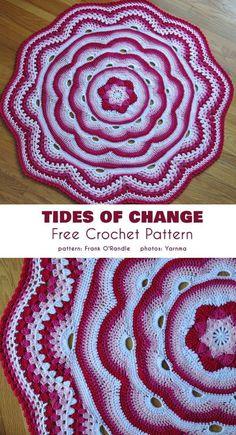 Tides of change blanket free crochet pattern 44 awesome best loving round crochet blanket collections Motif Mandala Crochet, Afghan Crochet Patterns, Crochet Stitches, Knitting Patterns, Crochet Doilies, Mandala Blanket, Baby Blanket Crochet, Crochet Baby, Knit Crochet