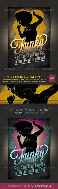 Funky Flyer/Invitation  #GraphicRiver         FUNKY – FLYER /INVITATON     · 2 different color combinations.   · Print ready at 300dpi CMYK , size 4×6 with 0.25 inch bleed.   · 2 psds for version of Photoshop CS4 or higher.   Two free downloadable fonts:   Valencia  .losttype /font/?name=valencia   Lavanderia Font  .losttype /font/?name=lavanderia